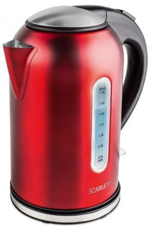 Фото - Чайник электрический Scarlett SC-EK21S56 1.8л. 2200Вт красный/черный (корпус: нержавеющая сталь) чайник scarlett sc ek21s76 1800вт 2 0л металл красный
