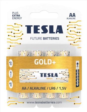 Батарейки Tesla GOLD AA+ 4ks Alkaline AA (LR06, пальчиковая, блистер/4)