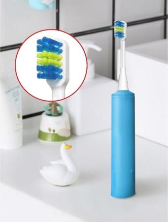 Детская электрическая зубная щетка для детей 3 года до 10 лет. Синяя.