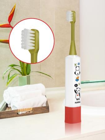 Детская электрическая зубная щетка для детей 3 года до 10 лет. Панда. Цвет корпуса: белый и красный.
