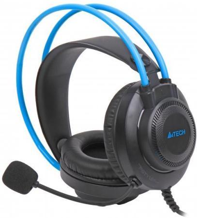Фото - Наушники с микрофоном A4Tech Fstyler FH200U серый/синий 2м накладные USB оголовье (FH200U BLUE) наушники a4tech hu 7p черный