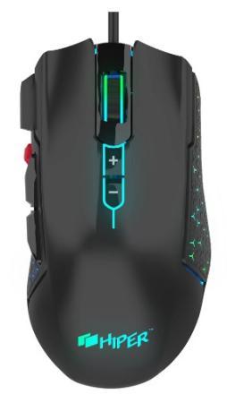 Фото - Игровая мышь HIPER DRAKKAR чёрная (USB, 8 кнопок, 10000 dpi, PMW3327, RGB подсветка, регулировка веса) мышь игровая redragon invader rgb 8 кнопок 10000 dpi 78332