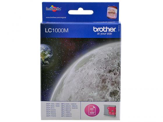 Картридж Brother LC1000M для MFC-240C DCP-130C DCP-330C пурпурный 5x ink cartridge lc10 lc37 lc51 lc57 lc960 lc970 lc1000 for brother dcp 130c dcp 135c mfc 235c mfc 240c printer inkjet