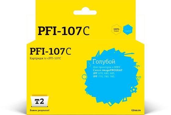 Фото - T2 PFI-107C Картридж струйный для Canon imagePROGRAF iPF-670/680/685/770/780/785, голубой картридж canon pfi 107 c для ipf680 685 780 785 голубой 6706b001