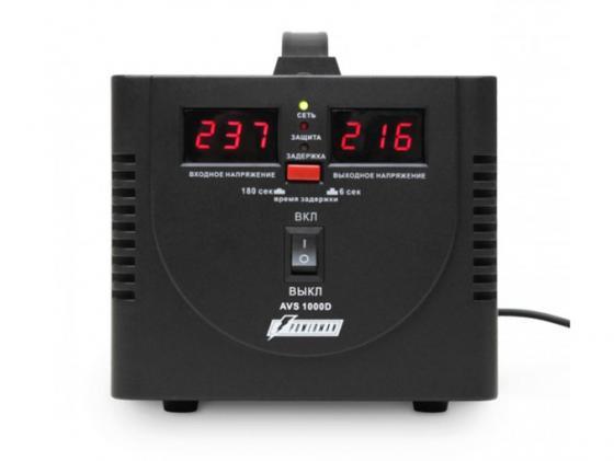 Стабилизатор напряжения Powerman AVS-1000D 2 розетки черный ибп стабилизатор powerman avs 500d черный