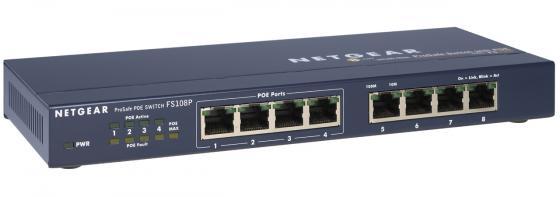 Коммутатор Netgear FS108PEU, 8-ports 10/100Mbps (4-ports PoE)