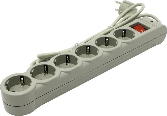 Сетевой фильтр DEFENDER DFS-601 6 розеток 1.8 м белый 99406 удлинитель defender s518 белый 5 розеток 1 8 м 99241