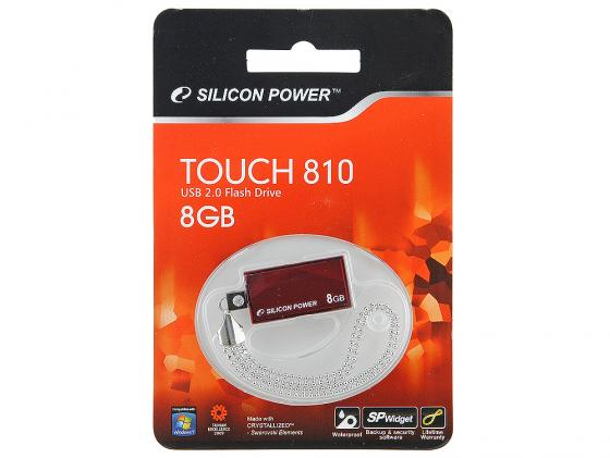 Флешка USB 8Gb Silicon Power Touch 810 SP008GBUF2810V1R красный usb флешка silicon power touch 810 16gb red sp016gbuf2810v1r usb 2 0 18 мб с 5 мб с