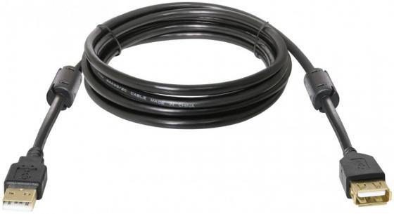 Кабель удлинитель DEFENDER USB02-10PRO USB2.0 AM-AF 3м, позолоченные кольца, 2фер. фильтра кабель удлинительный usb 2 0 am af 1 8м defender usb02 06 polybag