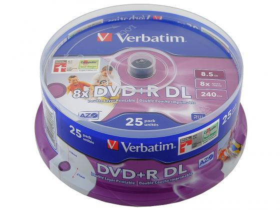 Диски DVD+R double layer Verbatim 8x 8.5Gb CakeBox 25шт Printable 43667 кувалда сибртех 10934