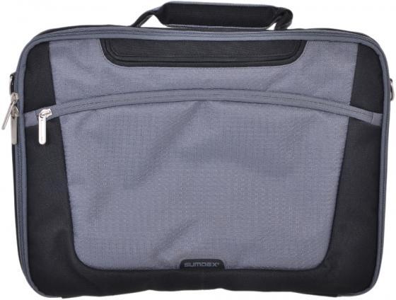 """купить Сумка для ноутбука 15"""" Sumdex PON-301BK нейлон-полиэстер черный/серый недорого"""