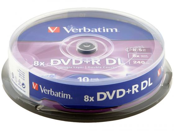 Диски DVD+R double layer Verbatim 8x 8.5Gb CakeBox 10шт 43666 диски dvd r verbatim 8 5gb 8x double layer cakebox 50шт 43758