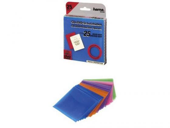 Конверты Hama для CD пластиковые цветные 25шт H-33800 конверты hama для cd dvd бумажные с прозрачным окошком белый 25шт h 51060
