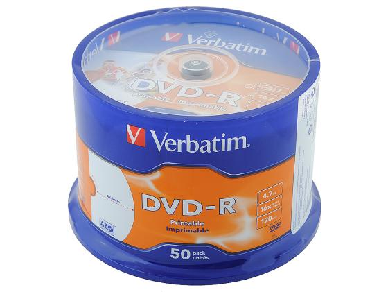 Диски DVD-R Verbatim 16x 4.7Gb CakeBox 50шт Printable 43649 43533 диски cd dvd sony dvd r 16x dvd dvd