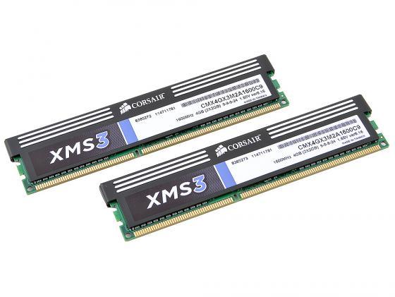 Оперативная память 4Gb (2x2Gb) PC3-12800 1600MHz DDR3 DIMM CL9 Corsair CMX4GX3M2A1600C9 оперативная память 4gb pc3 12800 1600mhz ddr3 qnap для ss ecxx79u sas rp ts ecxx79u sas rp ts ecxx79u rp ram 4gdr3ec ld 1600