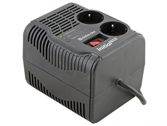 Стабилизатор напряжения DEFENDER AVR Initial 1000 2 розетки 0.6 м черный 99018 defender avr initial 1000