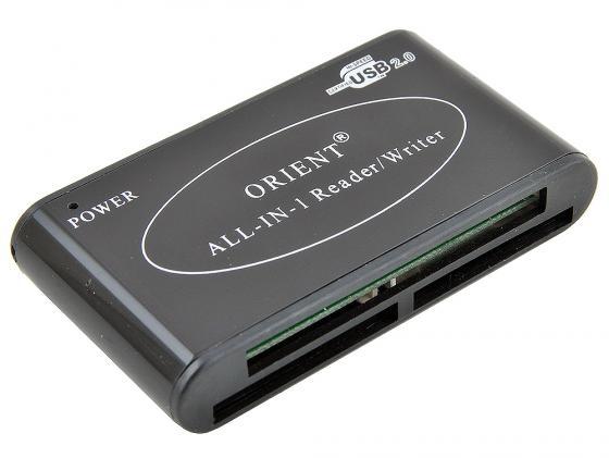 Картридер внешний ORIENT Mini CR-02BR CF/SD/SDHC/MMC/microSDHC/M2/MSProDuo/xD черный high speed usb 3 0 sd ms m2 cf xd micro sd tf card reader black silver
