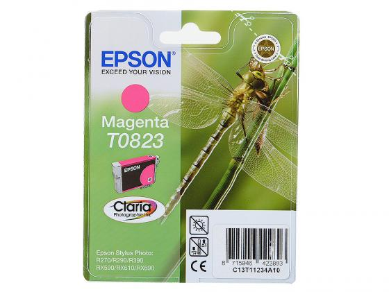 Картридж Epson C13T11234A10/С13T08234A T0823 для Epson Stylus Photo R270/290/RX590 пурпурный картридж epson t009402 для epson st photo 900 1270 1290 color 2 pack