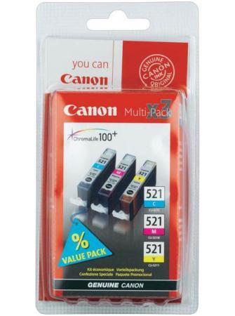 Набор картриджей Canon CLI-521CMY из 3х цветов для PIXMA iP3600 iP4600 MP540 MP620 MP630 MP980 картридж colouring cg cli 521bk black для canon ip3600 ip4600 mp540 mp620 mp630 mp980