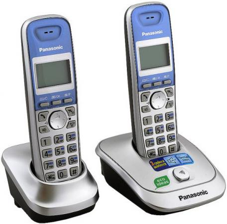 Радиотелефон DECT Panasonic KX-TG2512RUS серебристый panasonic kx tg2512rus dect phone additional handset included eco mode time date display communication between handsets