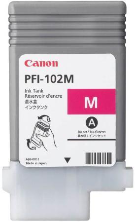 Картридж Canon PFI-102M для iPF510 605 610 650 655 710 755 LP17 90мл пурпурный картридж струйный canon pfi 102m 0897b001 пурпурный для canon ip f510 605 610