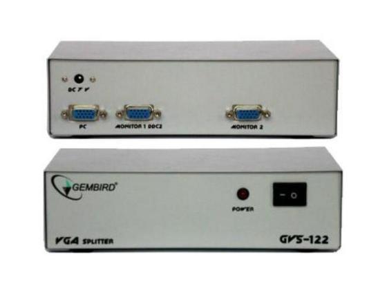 Сплиттер VGA Cablexpert Gembird GVS122 HD15M/2x15M 1комп.-2 монитора
