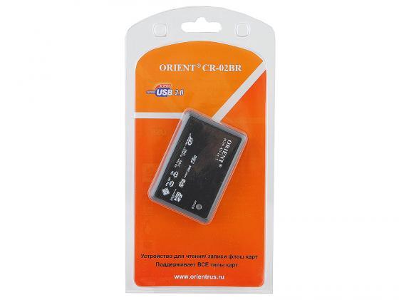 Картридер внешний ORIENT CR-02BR CF/SD/SDHC/MMC/microSDHC/M2/MSProDuo/xD черный картридер orient cr 011g 30364