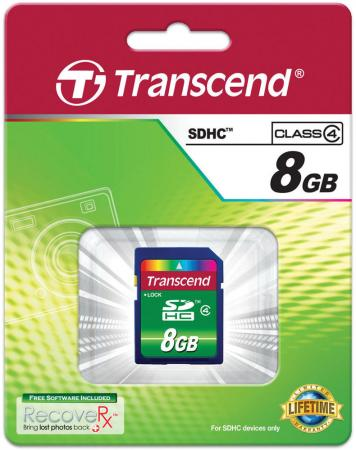 Карта памяти SDHC 8GB Class 4 Transcend TS8GSDHC4 transcend sdhc class 10 8gb ts8gsdhc10 карта памяти