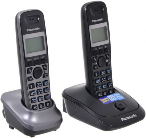 Радиотелефон DECT Panasonic KX-TG2512RU2 темно-серый серый металлик panasonic kx tg2512ru2 dect phone additional handset included eco mode time date display communication between handsets