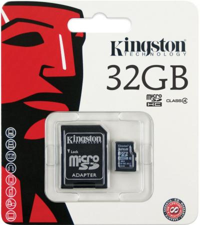 Карта памяти Micro SDHC 32GB Class 4 Kingston SDC4/32GB + адаптер SD карта памяти sdhc micro kingston sdca3 32gb