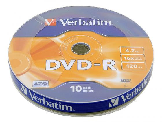 Диски DVD-R Verbatim 16x 4.7Gb Shrink 10шт 43729 диски cd dvd sony dvd r 16x dvd dvd