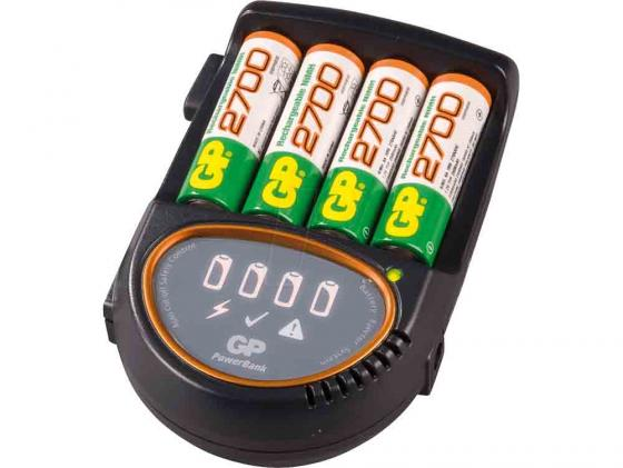 Зарядное устройство + аккумуляторы 2700 mAh GP PB50 AA 4 шт РВ50GS270CA-2CR4 зарядное устройство gp u411270wa12fradapt 2cr4 10 аккумуляторы aa 2600mah 4шт
