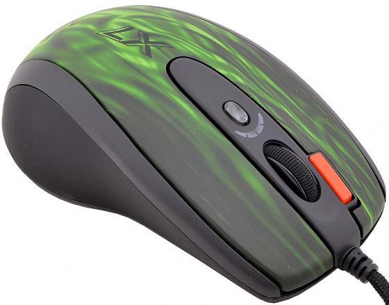Мышь проводная A4TECH XL-750BK Green fire чёрный зелёный USB цена
