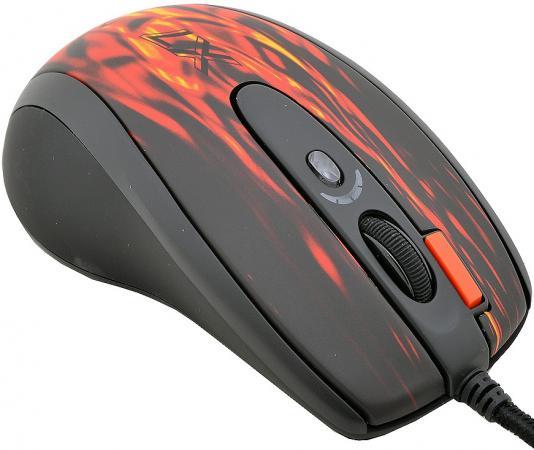 Мышь проводная A4TECH XL-750BK чёрный красный USB цена и фото