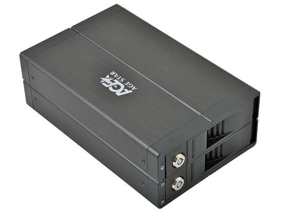 Внешний контейнер для HDD 3.5x2 SATA RAID AgeStar 3U2B3A USB3.0 черный контроллер pci e sata ide 2 1 port sata raid jmb363 bulk