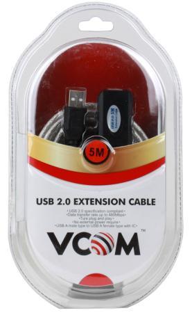 все цены на Кабель удлинительный USB 2.0 AM-AF 5.0м VCOM Telecom активный VUS7049 предотвращающий затухание сигнала онлайн