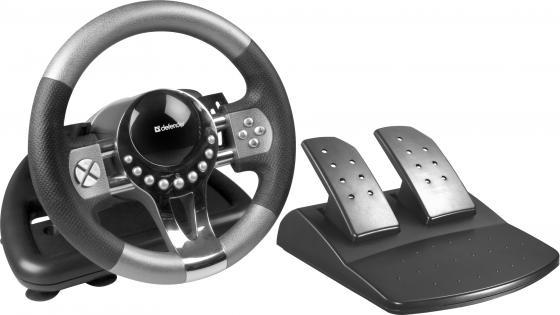 Руль + педали DEFENDER FORSAGE GTR 12 кн, рычаг коробки передач, USB 64367 руль defender forsage drift gt usb ps2 ps3 64370 черный