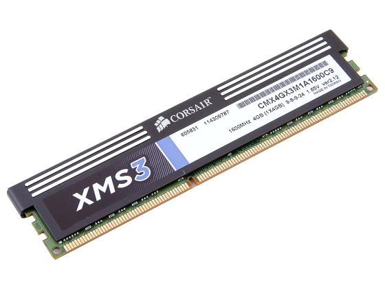 Оперативная память 4Gb (1x4Gb) PC3-12800 1600MHz DDR3 DIMM CL9 Corsair XMS3 9-9-9-24 corsair xms3 cmx4gx3m1a1600c9 memory bank