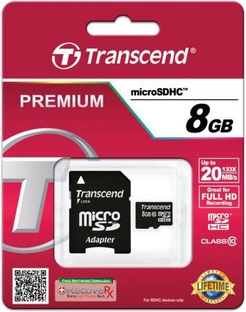 Карта памяти Micro SDHC 8GB Class 10 Transcend TS8GUSDHC10 + адаптер SD картридер внешний transcend ts rdp8k cf mmc sd sdhc microsdhc msduo msmicro черный