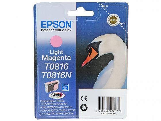 Картридж Epson C13T11164A10/C13T08164A T0816 для Epson Stylus Photo R270/290/RX590 светло-пурпурный epson epson t0816