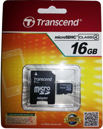 Карта памяти Micro SDHC 16GB Class 4 Transcend TS16GUSDHC4 + адаптер SD картридер внешний transcend ts rdp8k cf mmc sd sdhc microsdhc msduo msmicro черный