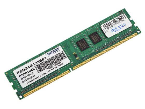 Оперативная память 4Gb PC3-10600 1333MHz DDR3 DIMM Patriot PSD34G133381 память so dimm ddr3 patriot 4gb 1333mhz psd34g133381s