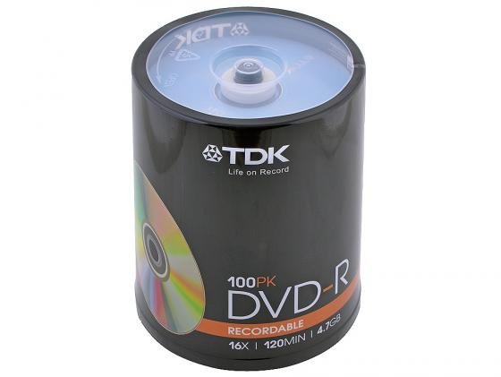 Диски DVD-R TDK 16x 4.7Gb CakeBox 100шт 19479 диски cd dvd thunis dvd r dvd r 16x 25