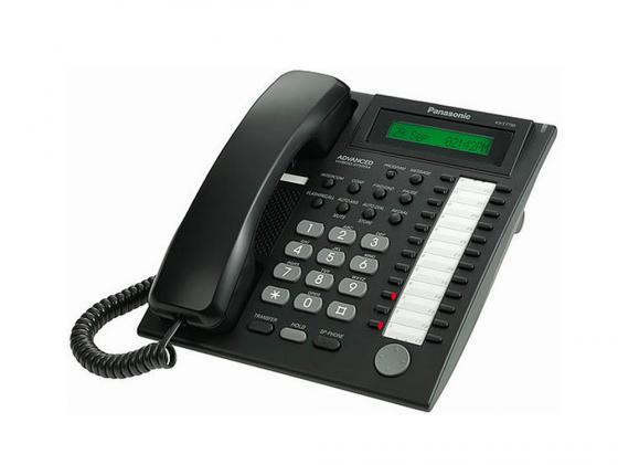 Системный телефон Panasonic KX-T7735RU-B черный, 1 строчный, 24 клавиши системный телефон panasonic kx dt543ru b черный kx dt543ru b