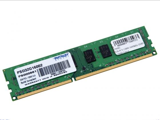 Оперативная память 2Gb PC3-12800 1600MHz DDR3 DIMM Patriot PSD32G160081 память kingmax ddr iii dimm 2gb pc3 12800