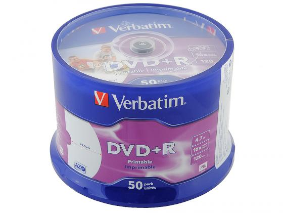 Диски DVD+R 16x 4.7Gb CakeBox (50шт) InkJet Printable Verbatim [43512] диски dvd r verbatim 16x 4 7gb slimcase 100шт 5x20шт 43547