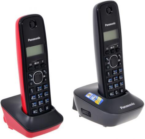 Фото Радиотелефон DECT Panasonic KX-TG1612RU3 черный/красный радиотелефон dect panasonic kx tgj320rub черный