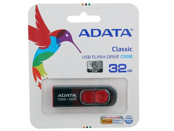 Флешка USB 32Gb A-Data C008 AC008-32G-RKD черно-красный