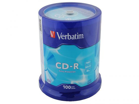 Диски CD-R Verbatim 700Mb 52x CakeBox 100шт 43411 диски cd r 700mb 52x jewel 10шт printable verbatim 43325 4