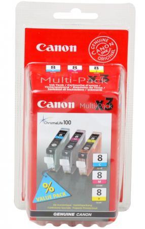 Набор картриджей Canon CLI-8C/M/Y из 3х цветов для PIXMA MP800/MP500/iP6600D/iP5200/iP5200R/iP4200/IX5000 700 страниц картридж t2 ic ccli 8c для canon pixma ip4200 4300 5200 pro9000 mp500 600 голубой